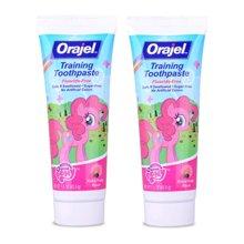 【2盒装】【美国】Orajel欧乐 婴幼儿宝宝儿童牙膏 无氟可吞咽水果味42.5g 粉色小马