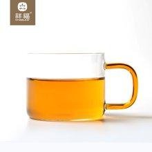 祥福 彩柄玻璃杯带把透明耐热水杯创意花茶杯子便携办公杯六个装