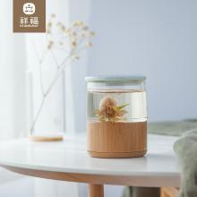 祥福带盖乐透泡茶杯便携耐热玻璃茶水杯竹套