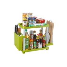 阡佰家 太空铝置物架 厨房置物架长方形两层置物架  调味罐置物架 刀板架