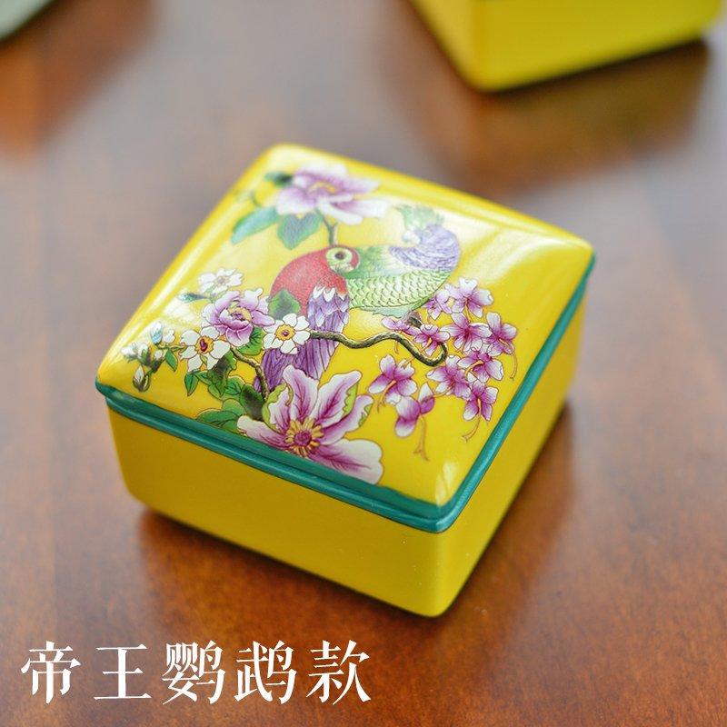 手绘陶瓷创意收纳盒子装饰盒摆件小首饰盒-其他-帝王