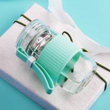 爱自由创意透明杯防滑硅胶提手玻璃杯
