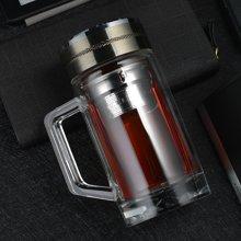 爱自由双层玻璃杯 男女士商务水杯带过滤网杯子