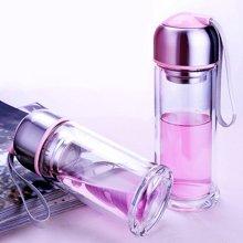 爱自由双层玻璃杯创意带盖茶杯便携水晶杯