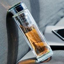 爱自由双层水晶玻璃杯 商务车载便携水杯 男士女士办公隔热过滤茶杯子
