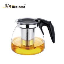 窝蜂玻璃泡茶壶耐热玻璃茶壶不锈钢过滤玻璃茶具泡茶壶1.1L