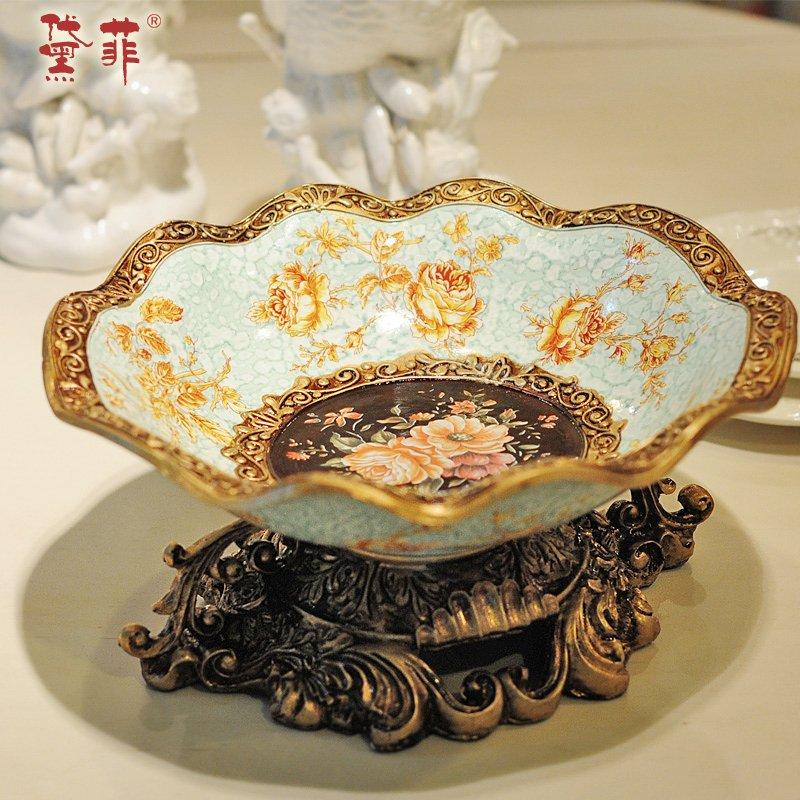 黛菲 欧式树脂水果盘复古创意客厅茶几装饰摆件零食糖果盘干果盘-果盘