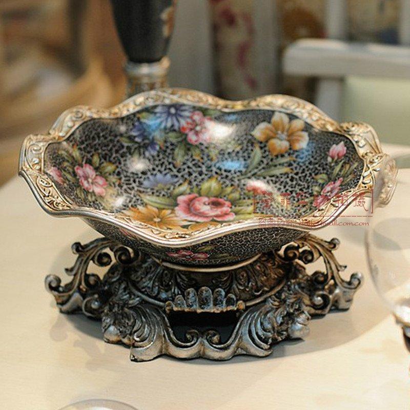 墨菲 欧式树脂水果盘复古创意客厅茶几装饰摆件零食糖