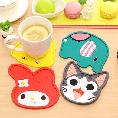 可爱动物杯垫硅胶隔热防滑垫实用茶杯垫碗垫小盘垫餐