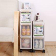 带滑轮抽屉式夹缝收纳柜塑料窄柜缝隙整理储物柜零食厨房置物架