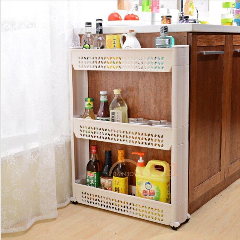 厨房冰箱夹缝置物架 卫生间角架塑料收纳架花型