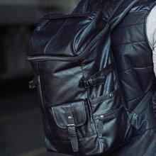 香炫儿XIASUAR韩版双肩包男旅行包潮包英伦男士pu皮包书包男包电脑背包
