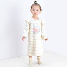 威尔贝鲁(WELLBER)婴儿睡衣春秋儿童长袖睡袍婴儿衣服