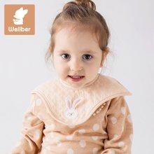 威尔贝鲁(WELLBER)婴儿360围嘴宝宝可旋转口水巾新生儿小围兜3条装