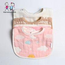 妈唯乐Marvelous Kids 婴幼儿纯棉纱布围嘴无荧光剂防漏口水兜3件装