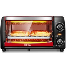 康佳电烤箱KAO-1208 额定容量12L,红色外观,额定功率1050W。上下管垂直加热均匀