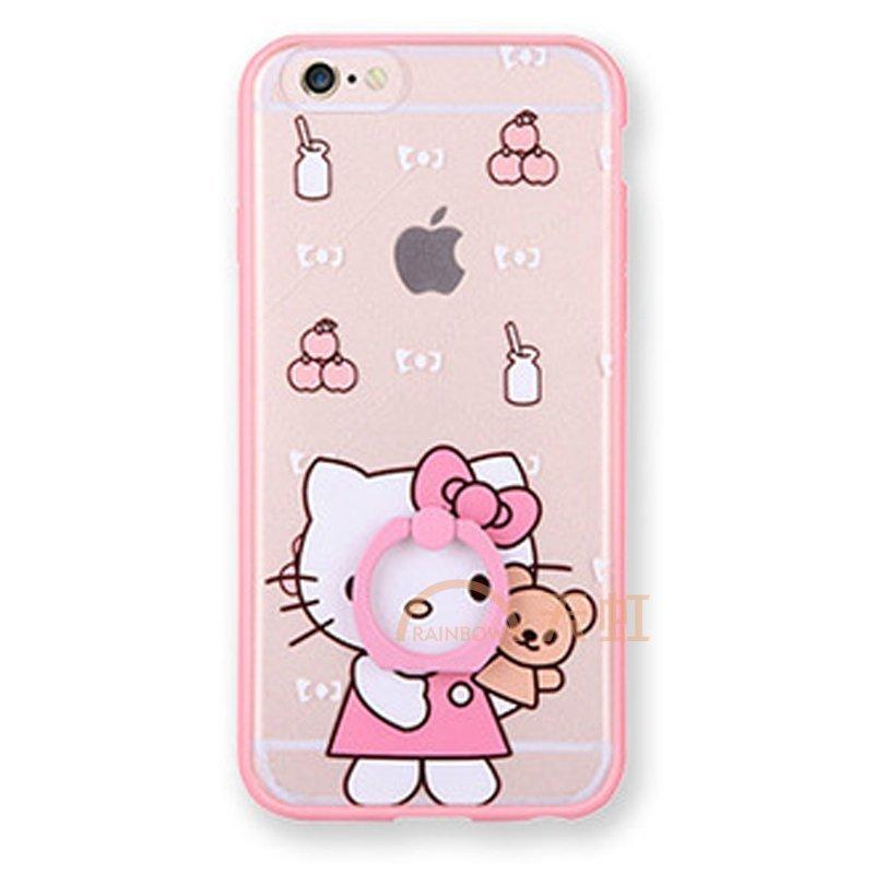 iphone6手机指环支架kitty猫保护壳苹果6plus手机壳可爱-正面抱熊kt