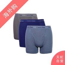 CalvinKlein男士平角棉质舒适内裤 蓝蓝灰三色混合S码(NU2665-900-S)