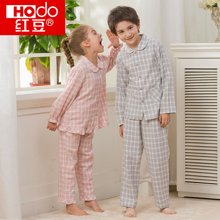 红豆童装儿童棉春夏格纹中大童男童女童空调服童装睡衣家居服套装HD6J111/HD6J112