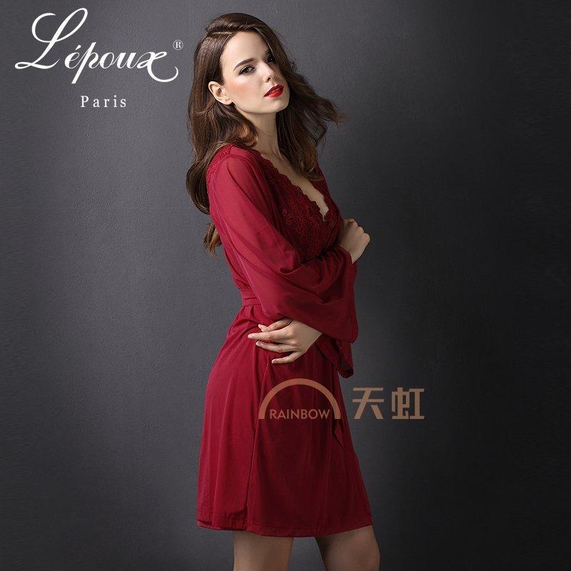 蕾姵依夏季新款欧式性感睡袍红色女士诱惑