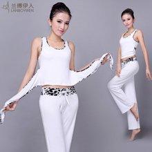 兰博伊人夏季新款时尚瑜伽套装健身服女士运动背心白色愈加服L102+B062