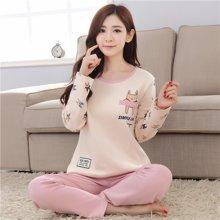 极有家 韩版睡衣棉可外穿可爱卡通休闲长袖家居服.1604033