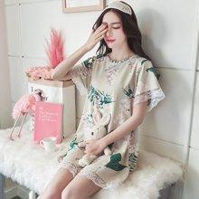 极有家 女宽松甜美清新睡衣树叶蕾丝短袖夏季家居睡裙.1710117