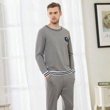 三度元新款秋季长袖睡衣 棉质套头圆领睡衣 休闲运动情侣装可外穿 男款(33019)