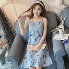 植木直新款吊带睡裙女无袖中款裙韩版可爱家居服168053