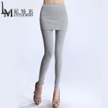 尼特名 春秋女士打底裤外穿裤时尚百搭修身假两件包臀裙裤J9037