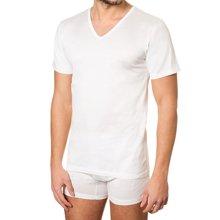 Fragi 高端男士全棉V领短袖T恤 Filsocozia精梳丝光长绒棉 正装打底白T恤 意大利制造原装进口 1561