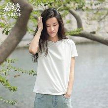 素缕2018夏装新款女装文艺宽松米白色显瘦短袖T恤女上衣FS6230喨