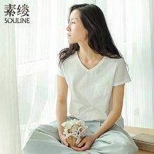 素缕夏装2018新款女文艺宽松显瘦白色短袖t恤女打底上衣SI6220喨