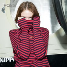 PASS潮牌新款高领打底衫女长袖秋冬百搭橫细条纹T恤复古上衣
