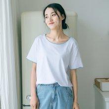 素缕2018夏装新款女套头宽松白色打底棉显瘦百搭短袖T恤IS8207芠