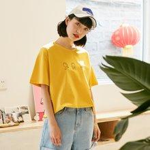 素缕夏装2018新款女文艺印花落肩袖上衣白色短袖T恤宽松SV8243尛
