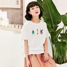 素缕夏装2018新款女印花宽松落肩袖圆领上衣白色短袖T恤SV8241媫