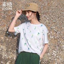 素缕夏装2018新款女文艺印花圆领显瘦白色短袖T恤女宽松DS8220尛