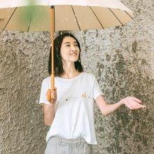 素缕夏装2018新款女文艺白色短袖T恤女宽松打底印花上衣IS8210尛