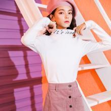 七格格 长袖t恤女秋冬装季2018新款韩版厚百搭体恤半高领打底衫上衣
