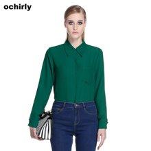 Ochirly欧时力 2016新女春装纯色翻领宽松长袖雪纺衬衫 1154014730