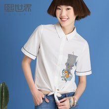 熙世界方领短袖衬衫女夏新款白色印花拼接上衣SC538