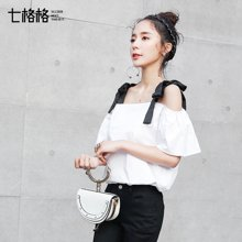 新品 七格格 2018夏装新款纯色黑白撞色系带一字肩宽松娃娃衫上衣小衫女