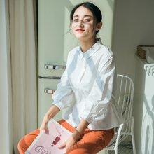 素缕夏装2018新款女开衫宽松收腰白色显瘦纯棉衬衫RS8247媫