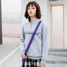 熤笙靘 韩版潮牌时尚运动卫衣女宽松显瘦长袖立领字母印花卫衣  E-1330