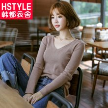 韩都衣舍2018韩版女装春装新款修身打底衫纯色毛针织衫GS8400緈