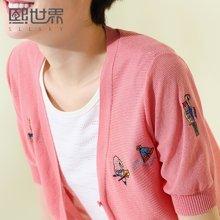熙世界夏装新款韩版绣花五分袖针织衫开衫女V领上衣102SW014
