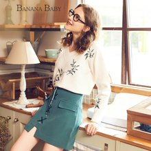 BANANA BABY新款日系甜美花卉刺绣毛衣女宽松V领针织毛衫D74M827