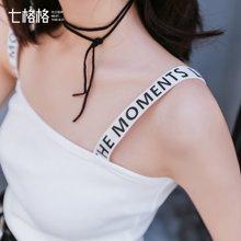 新品 七格格个性凹造型字母肩带修身打底显瘦背心P002