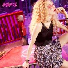 妖精的口袋Ychic夏季上衣夏装2018新款蕾丝边吊带女内搭 外穿Q